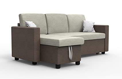 pull out sofa bed. Forzza Princeton Three Seater Pull Out Sofa Bed With Storage (Brown)