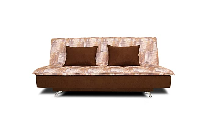 Adorn India Alenza 3 Seater Sofa Cum Bed Digitel Print (Brown & Beige)