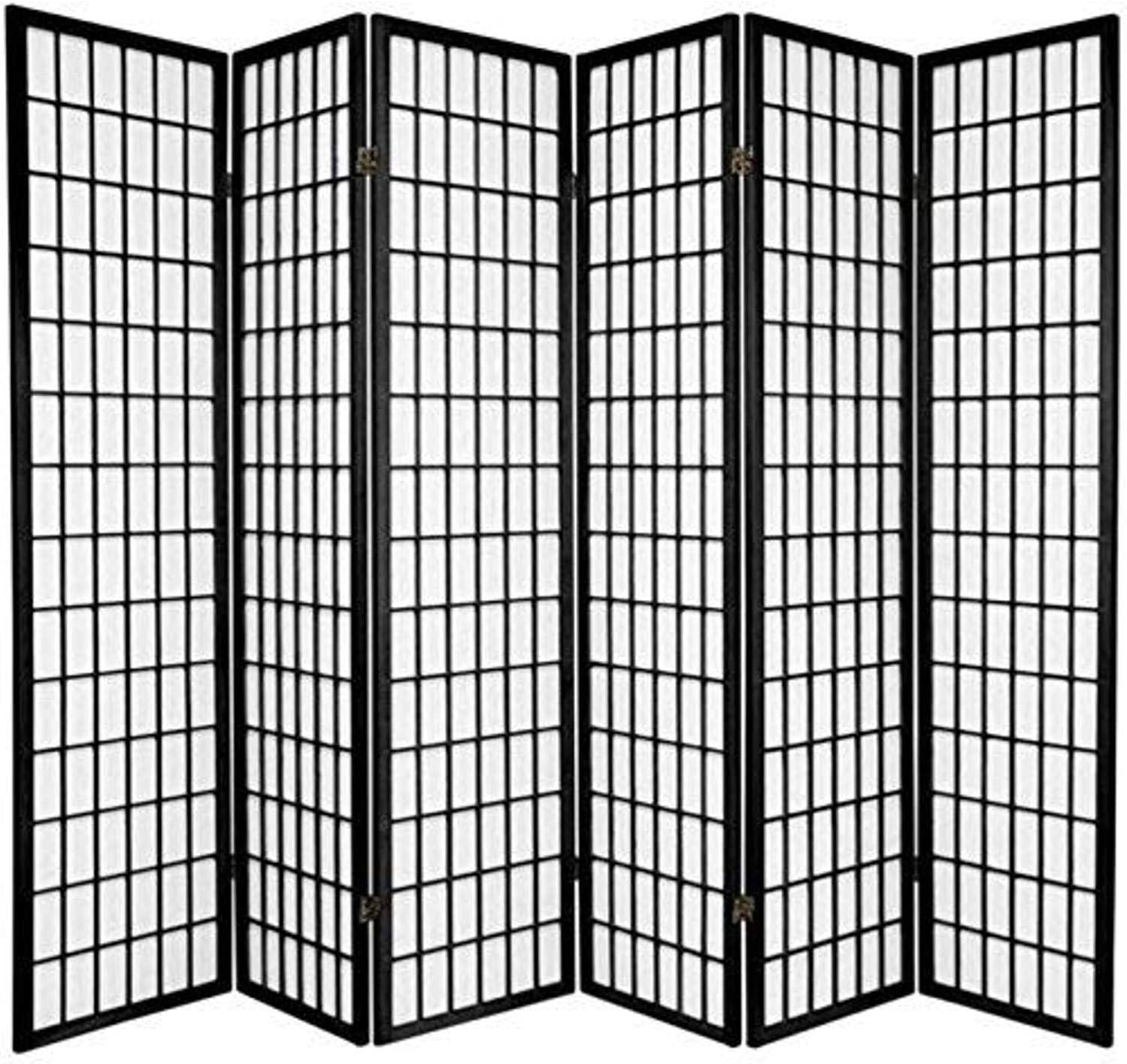 Oriental Furniture 6 ft. Tall Window Pane Shoji Screen - Black - 6 Panels
