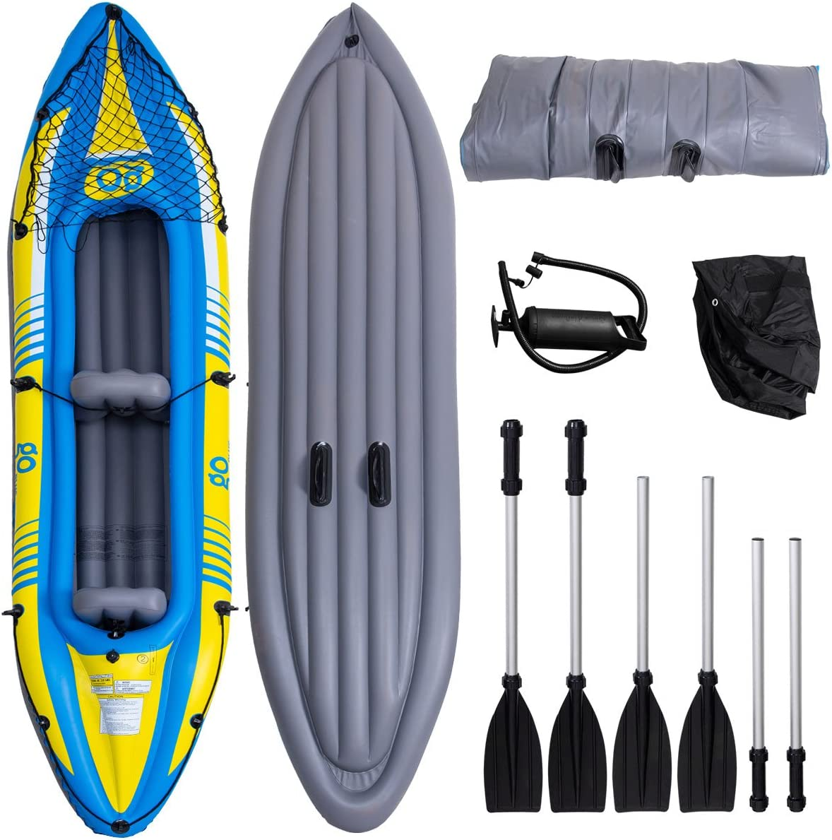 Gymax Kayak, Inflatable Kayak Set 3 Seperate Air Chambers Boat Canoe with Hand Pump and Aluminum Alloy Oar