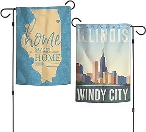 WinCraft Destination Illinois Chicago City/Illinois Chicago Garden Flags 2 Sided 12.5