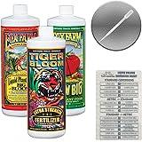 Fox Farm Liquid Nutrient Trio Soil Formula: Big Bloom, Grow Big, Tiger Bloom (Pack of 3-32 oz Bottles) 1 Quart Each + Twin Ca