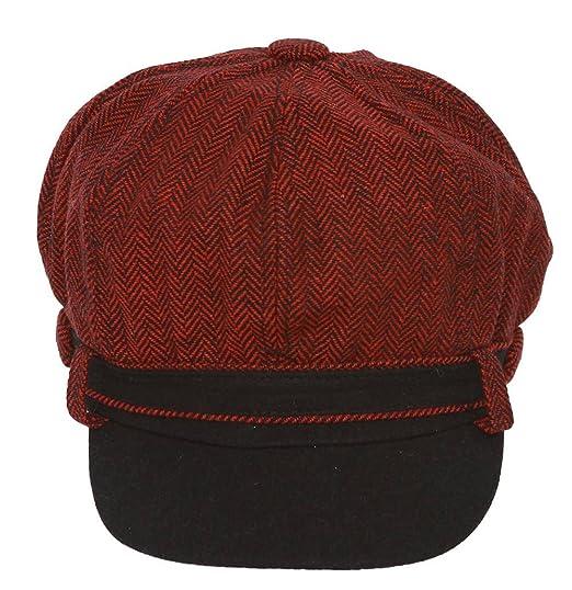 4d431286 Ladies Herringbone Pattern Newsboy Cap - Burgundy at Amazon Women's  Clothing store: