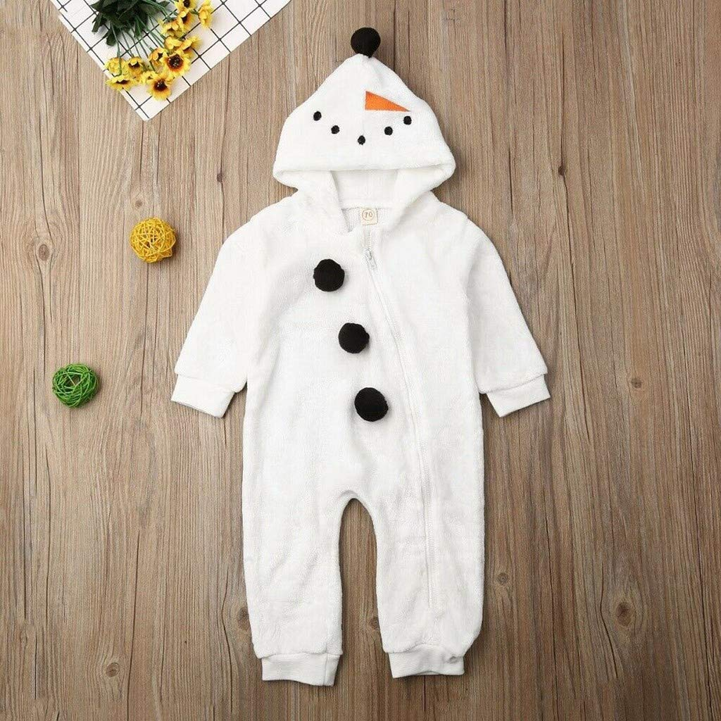 Toddler Baby Girl Boy Romper Christmas Pyjamas Snowman Brother Sister Cosplay Costume Jumpsuit 12-18 Months, White