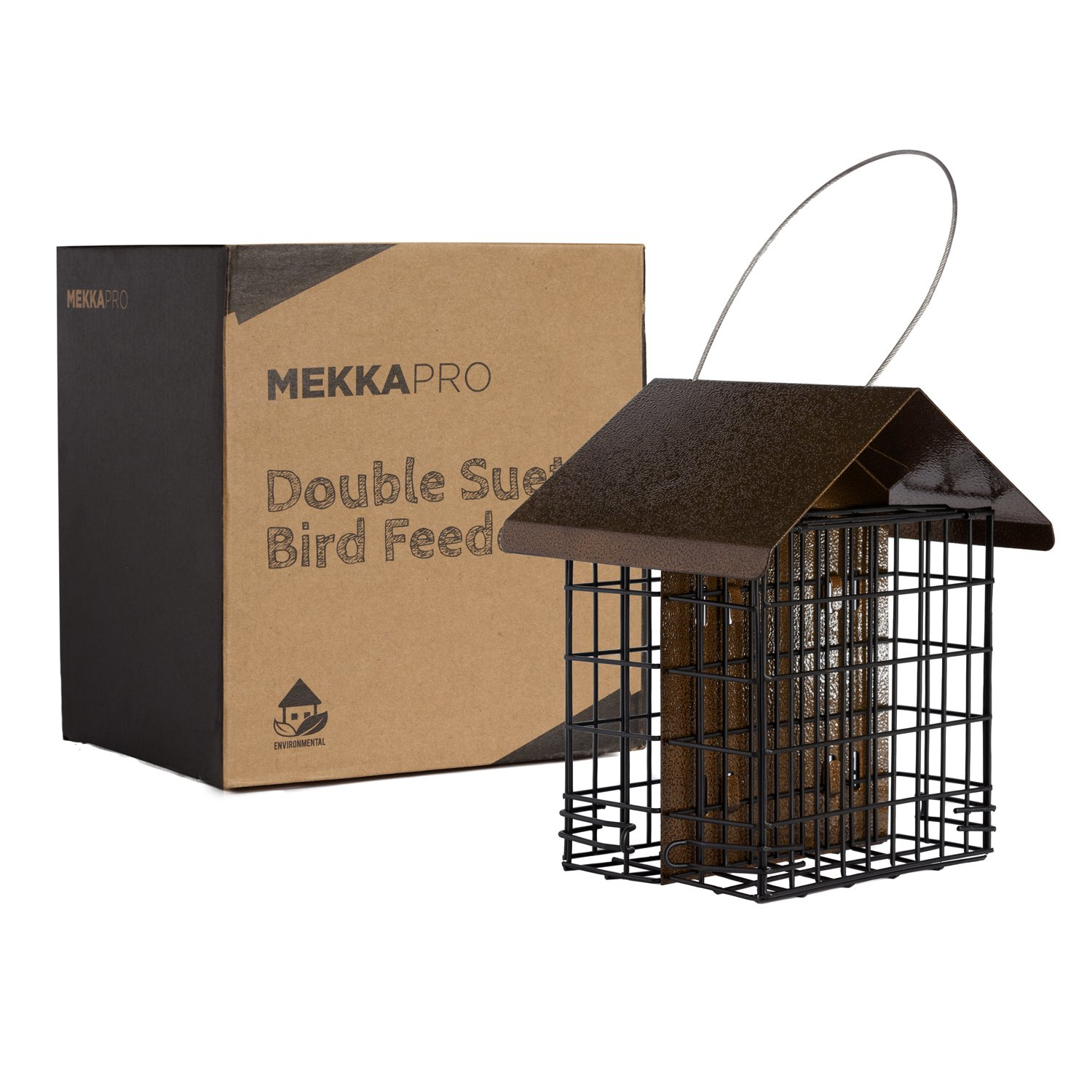 MEKKAPRO Double Suet Wild Bird Feeder with Hanging Metal Roof, Two Suet Capacity, Bird Feed Recommended
