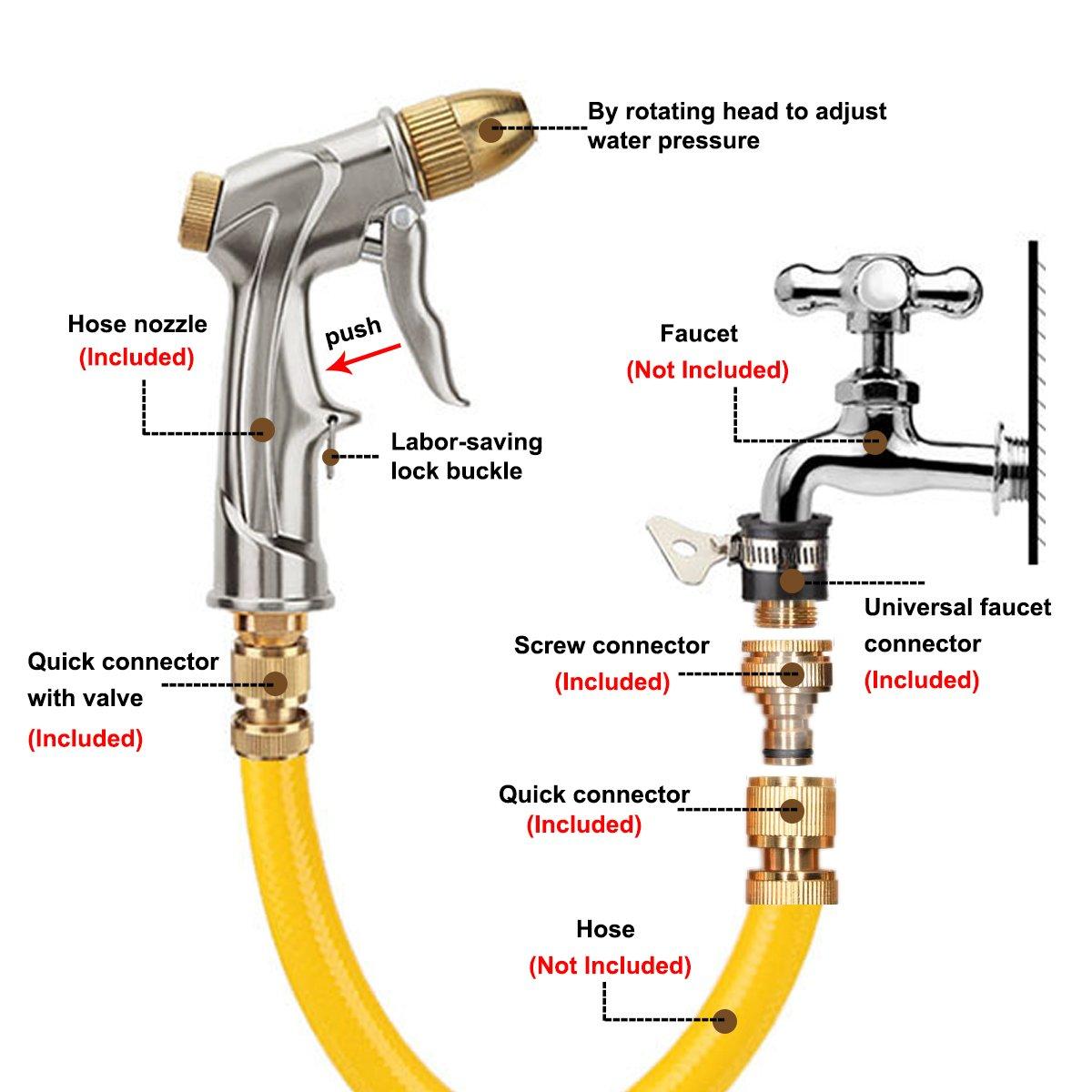 Ugello per tubo da giardino in rame resistente con spruzzatore ad alta pressione per autolavaggio irrigazione arbusti e piante lavaggio animali domestici Joso