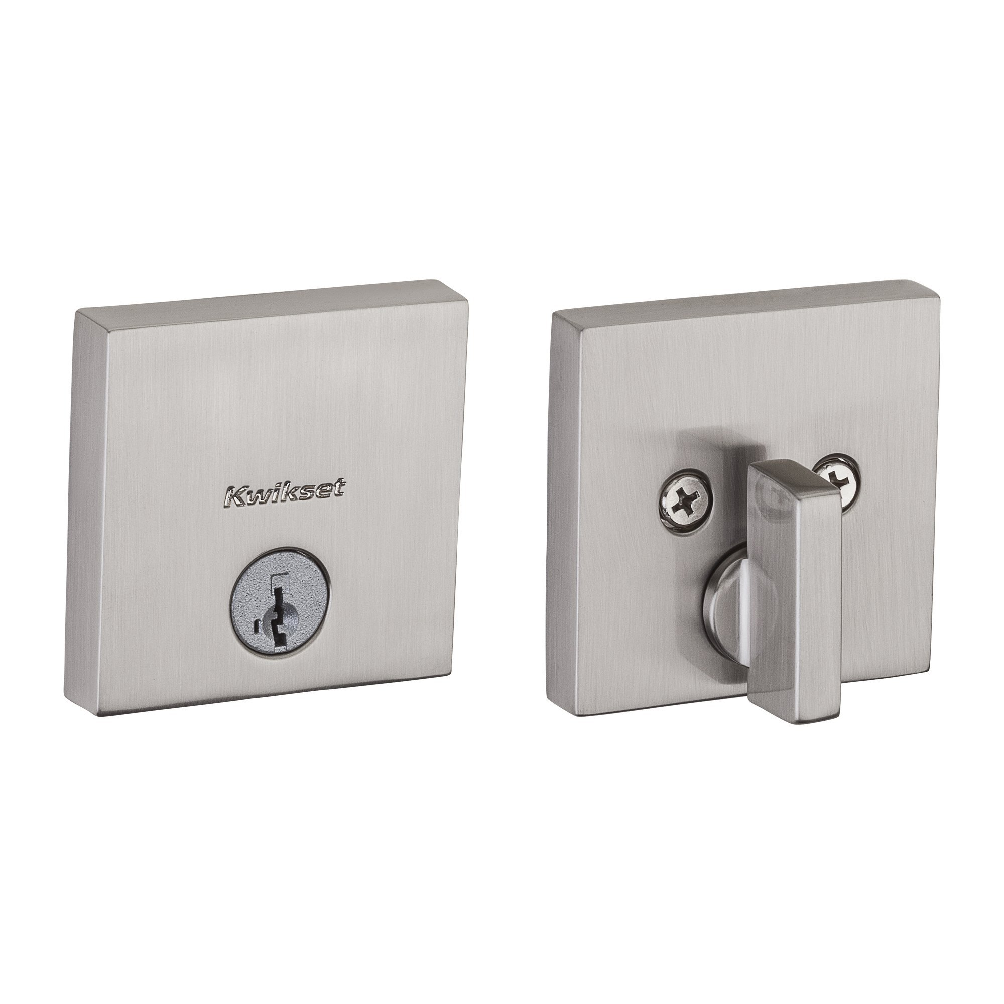 Kwikset 258 Downtown Low Profile Square Contemporary Deadbolt featuring SmartKey in Satin Nickel