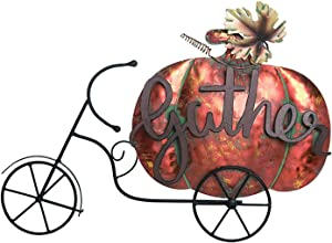 One Holiday Way Vintage Metal Bicycle Pumpkin Welcome Sign – Tabletop Fall Decoration (Gather)