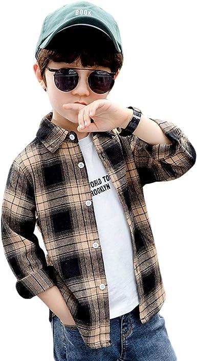 Camisa Niño, Camisa de Cuadros para Niño, Camisa de Manga Larga para Niños, Camisa Casual 3-12 años