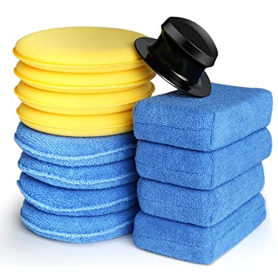 Electop 13 Pcs Car Wax Applicator Pads Kit 5 inch Microfiber Applicator Pads Blue Rectangle Microfiber Sponge Applicators Yellow Soft Foam Waxing Pad with Grip Handle: Automotive
