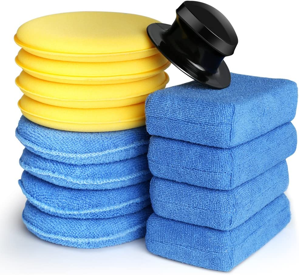 Electop 13 Pcs Car Wax Applicator Pads Kit 5 inch Microfiber Applicator Pads Blue Rectangle Microfiber Sponge Applicators Yellow Soft Foam Waxing Pad with Grip Handle