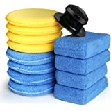 Electop 13 Pcs Car Wax Applicator Pads Kit 5 Microfiber Applicator Pads Blue Rectangle Microfiber Sponge Applicators…