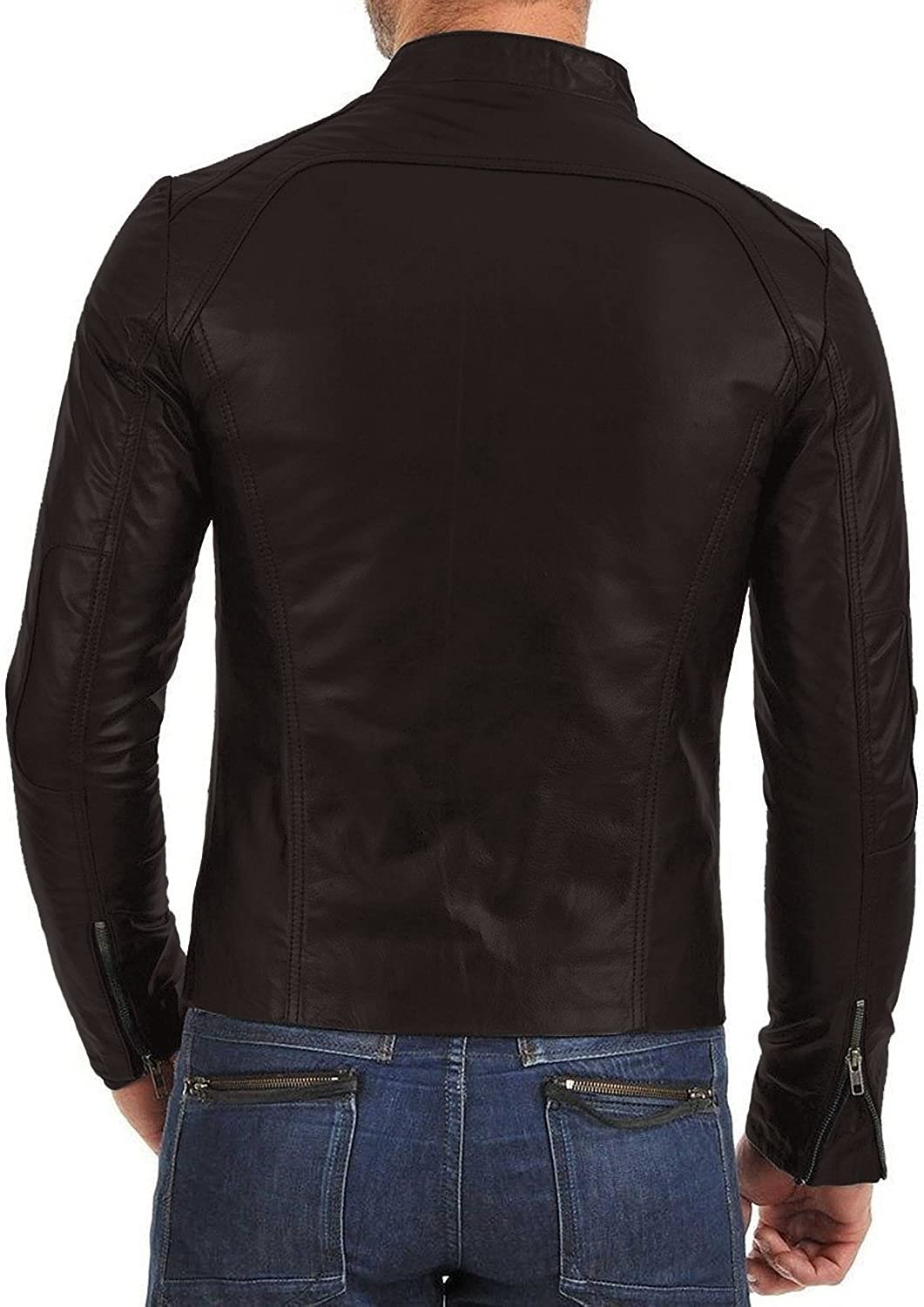 Laverapelle Mens Genuine Lambskin Leather Jacket Black, Racer Jacket 1501343