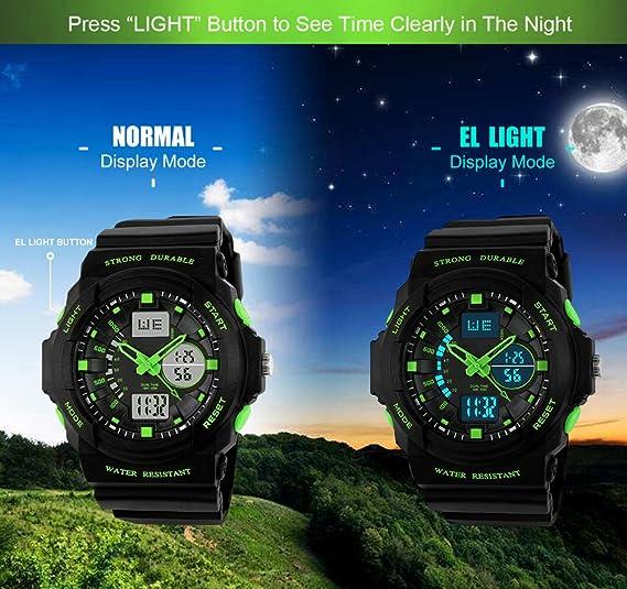 659201f6be9616 garçons Sports Digital montres - Enfants extérieur 5 bars montre étanche  analogique avec Format 12 24h 24 alarme électronique pour enfants, sport  montre ...