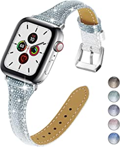 Yolovie Genuine Leather Band Compatible for Apple Watch 38mm 40mm Women Bling Wristband Gradient Slim Soft Replacement Watch Strap for SE Series 6 Series 5 Series 4 3 2 1 (38/40mm Green Silver)