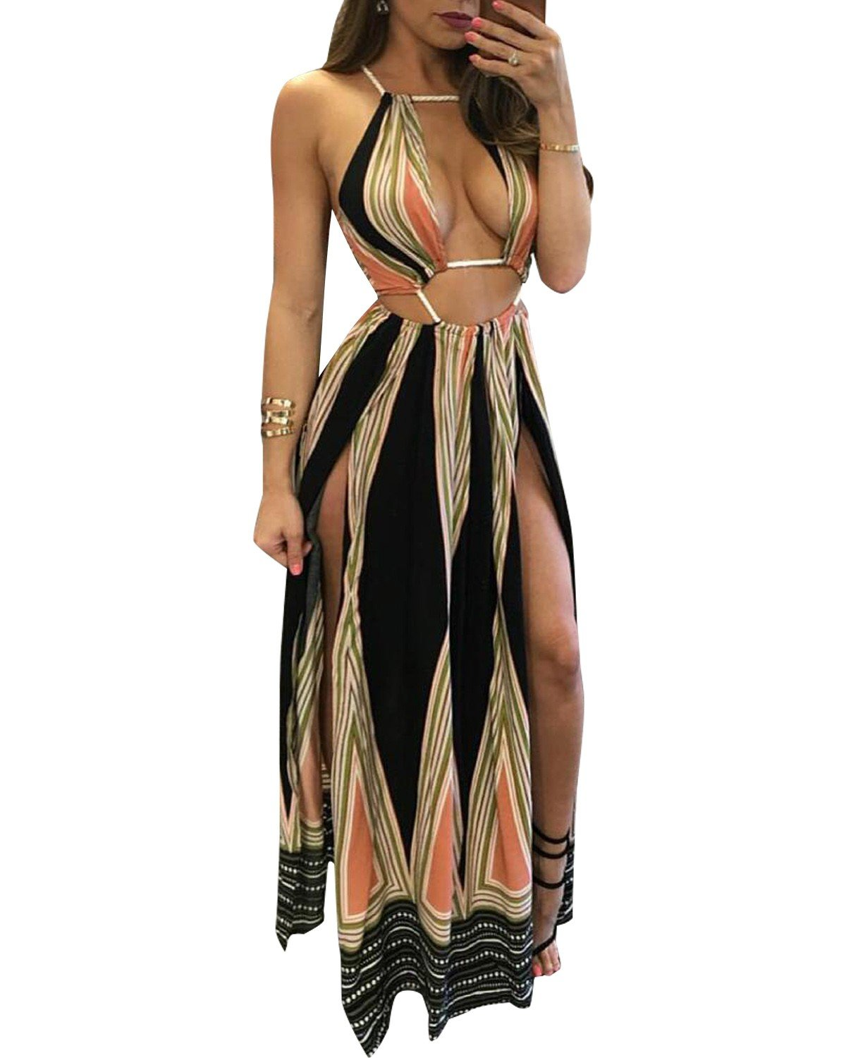 BIUBIU Women\'s Boho Rayon Halter Summer Beach Party Cover Up Dress Black L