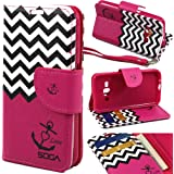 Galaxy Luna Case, Samsung Galaxy Express 3 Wallet Case, SOGA [Pocketbook Series] PU Leather Magnetic Flip Wallet Case for Samsung Galaxy Luna 4G LTE / Express 3 - Pink Chevron Anchor Love