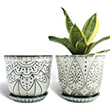 Gepege 6 Inch Beaded Ceramic Planter Set of 2 with Drainage Hole and Saucer for Plants, Indoor-Outdoor Large Round…