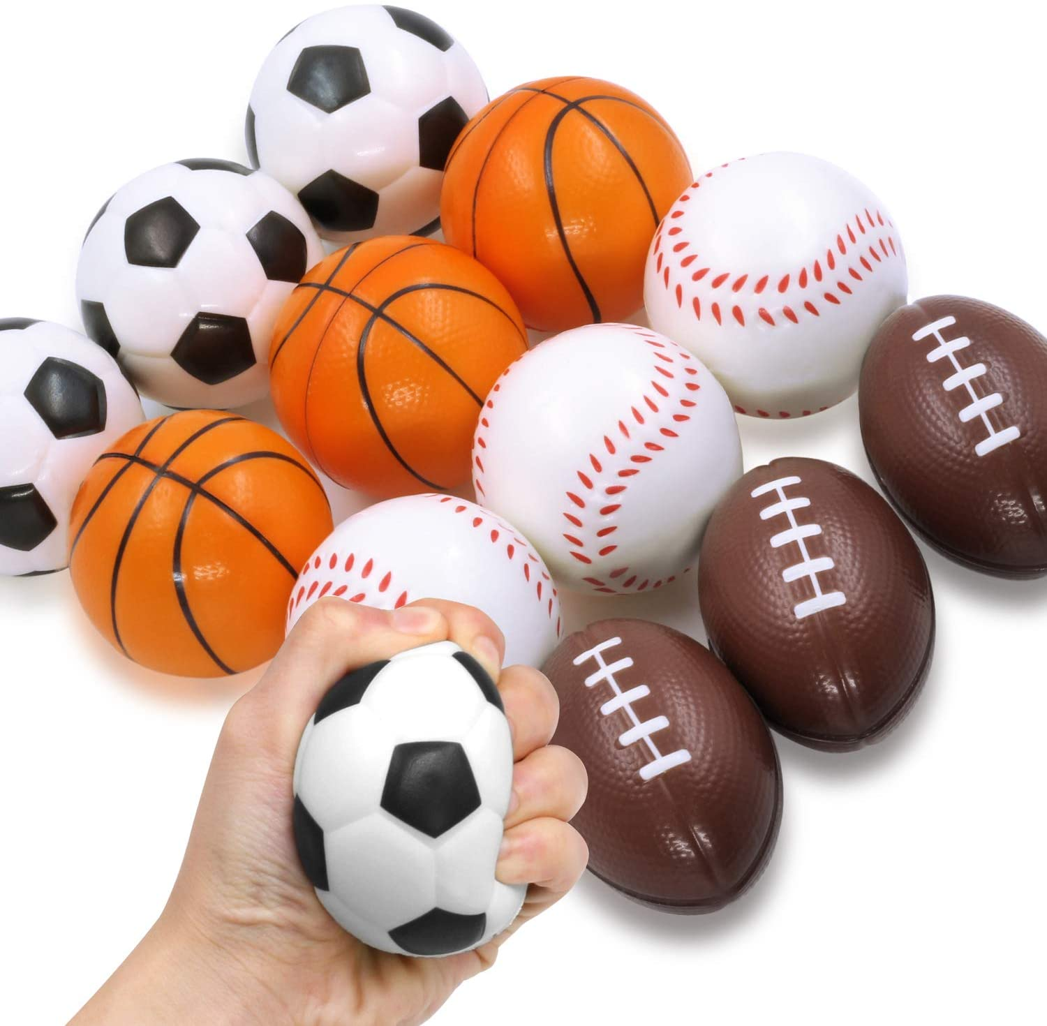 Novelty Place Squeezable Stress Balls - Anti-Stress Baseball, Basketball, Soccer, Football for Tension Relief - Relaxation Gadgets, Fidget Toys, Party Favors, Carnival Prizes(12 Pack & 4 Ballgames)