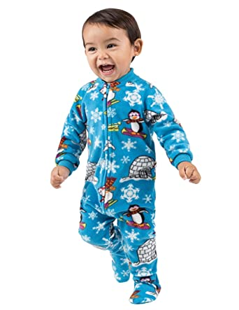 8b66927e3b1b Amazon.com  Footed Pajamas - Winter Wonderland Infant Fleece Onesie ...