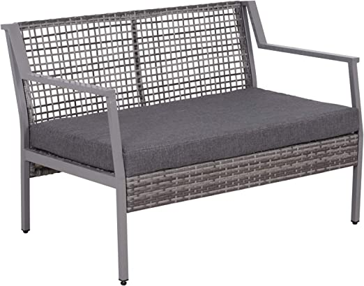 Outsunny Sofá de Ratán Estructura de Aluminio Dos Plazas con Cojín Desmontable Sillón Mueble de Jardín 118x75x79cm para Patio Exterior al Aire Libre Gris: Amazon.es: Jardín