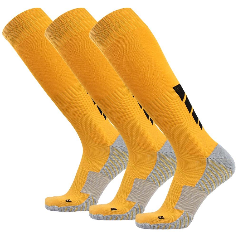 サッカーソックス、3streetユニセックスアスレチック圧縮ソックス1 / 2 / 3 / 4 / 6 / 10ペア B01EA7TJDM M(Fit For US 8-12)|3-Pairs yellow 3-Pairs yellow M(Fit For US 8-12)