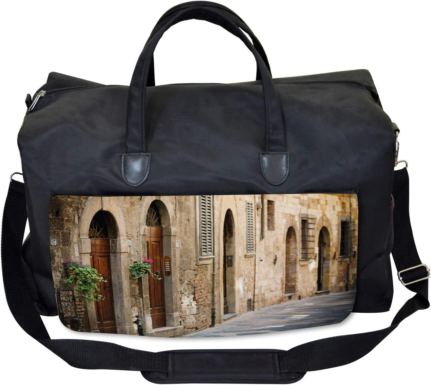 Italian Ancient Houses Ambesonne Colorful Gym Bag Large Weekender Carry-on