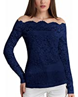 ZANZEA Women's Sexy Embroidery Blouse Off Shoulder Floral Lace Long Sleeve Tops