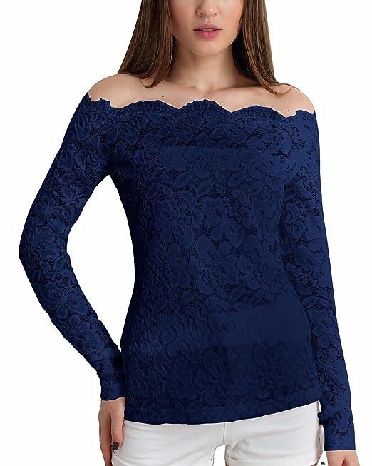 ZANZEA Blusa Camiseta Casual Elegante Verano Playa Encaje Cuello Barco Mangas Largas para Mujer Azul EU