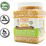 Pride Of India - Indian Split Yellow Pigeon Peas - Protein & Fiber Rich Toor Dal, 1.5 Pound Jar