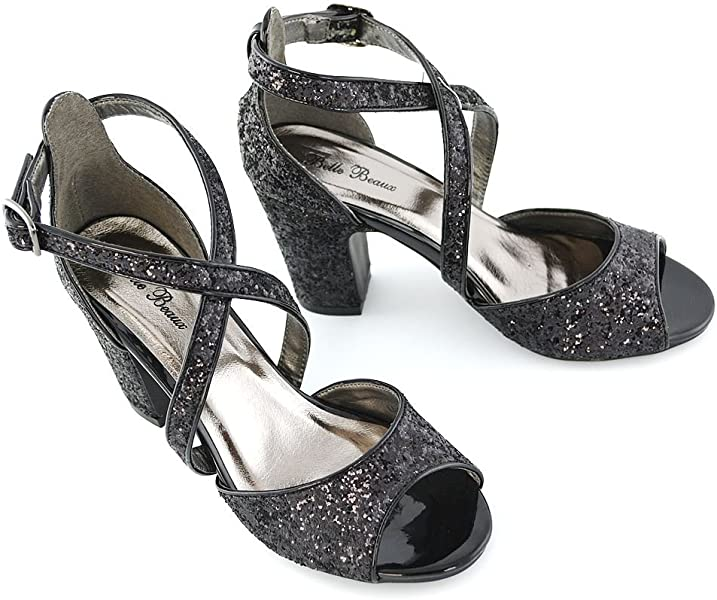 6d572be2c7b ESSEX GLAM Women s Sparkly Strappy Low Block Heel Black Glitter Party  Sandals 5 B(M. Back. Double-tap to zoom