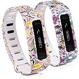 2in1 Set: Armband für Fitbit One - kwmobile 2x Silikon Sport Ersatzarmband mit Verschluss ohne Fitness Tracker - 2 Designs - Innenmaße: ca. 13 - 20 cm