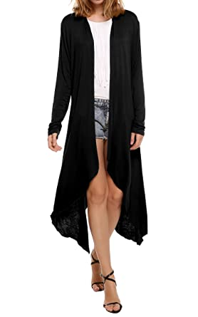 Meaneor Women's Long Sleeve Waterfall Asymmetric Drape Open Long ...