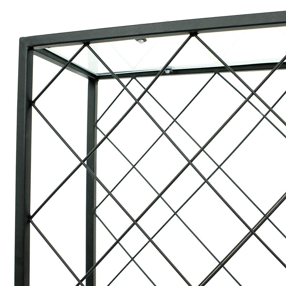 F2C 32 Bottles Wine Rack Holders Stands Liquor Storage Corner Wine Cabinet with Glassy Table Top, Metal Construction, Black