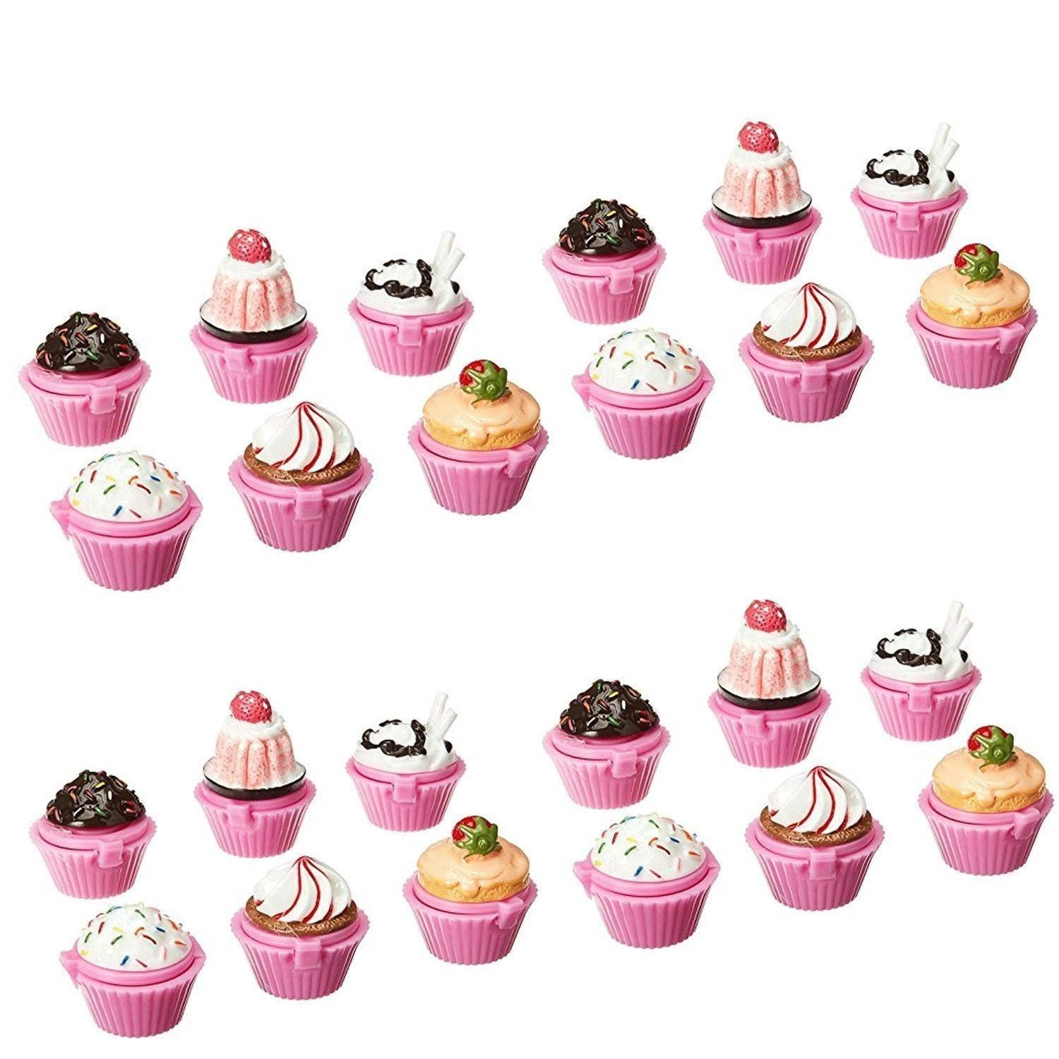Adorox Scented Novelty Cupcake Lip Gloss Lip Balm Makeup Girls Birthday Party Favors (Assorted (24 Pieces))