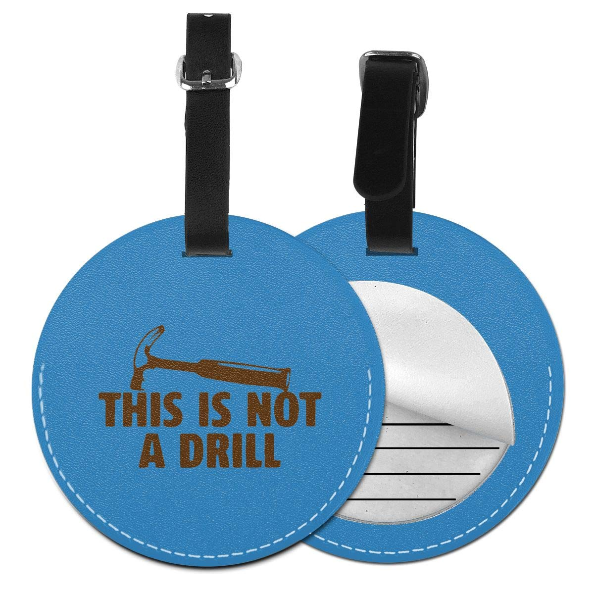 This Is Not A Drill Pu Leather Double Sides Print Round Luggage Tag Mutilple Packs 1pcs,2pcs,4pcs