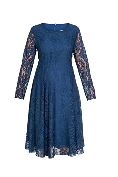 Kika - Vestido Encaje, color azul marino/Crema - Iglesia/ocasión/boda/fiesta (Talla 14/16/18/20/22: Amazon.es: Ropa y accesorios