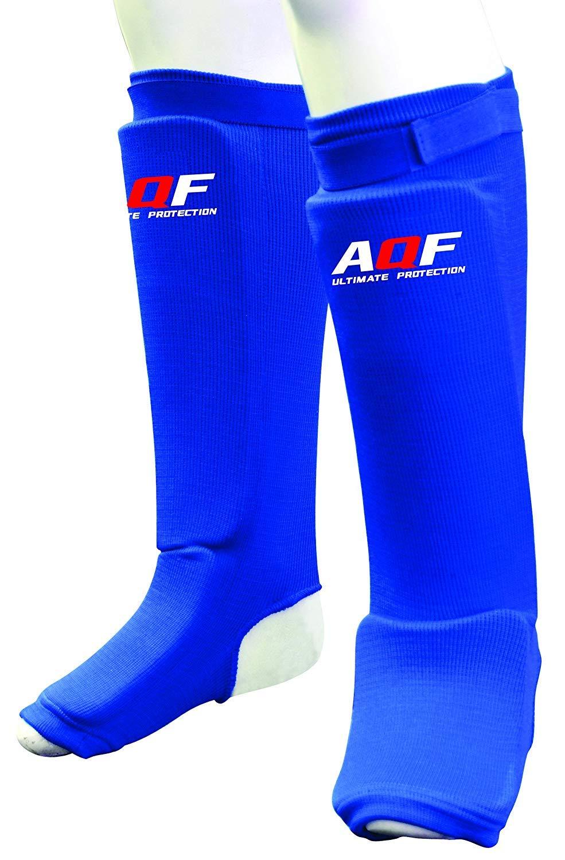 AQF espinilleras Kick Boxing de Espuma con Almohadilla de Tela el/ástica Soportes Protectores para Boxeo Protectores para piernas y el Empeine par