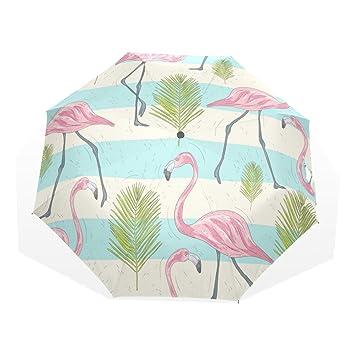 GUKENQ - Paraguas de Viaje, diseño de flamencos Rosas, Ligero, Anti Rayos UV