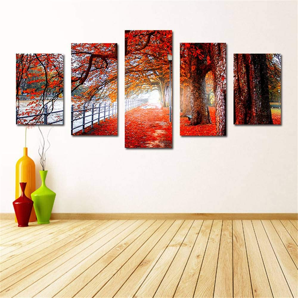 BFY Frameless Huge Wall Art Oil Painting On Canvas Maple Road Home Decor