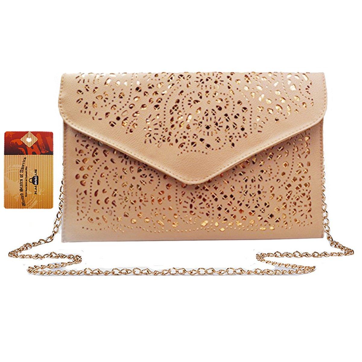 ZLM BAG US Women Hollow Out Floral Pattern Envelope Handbag Fashion PU Tote Evening Clutch Chain Crossbody Shoulder Bag Beige