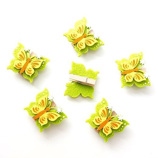 6 Stück Kleine Grün Gelb Grün Mini Filz Schmetterlinge Holz Klammern 5 X 4 Cm Zierklammern Zum Basteln Wäscheklammer Mini Geschenke Verzieren