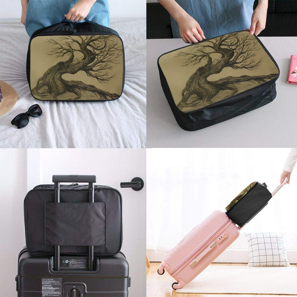 Travel Luggage Duffle Bag Lightweight Portable Handbag Dead Tree Print Large Capacity Waterproof Foldable Storage Tote