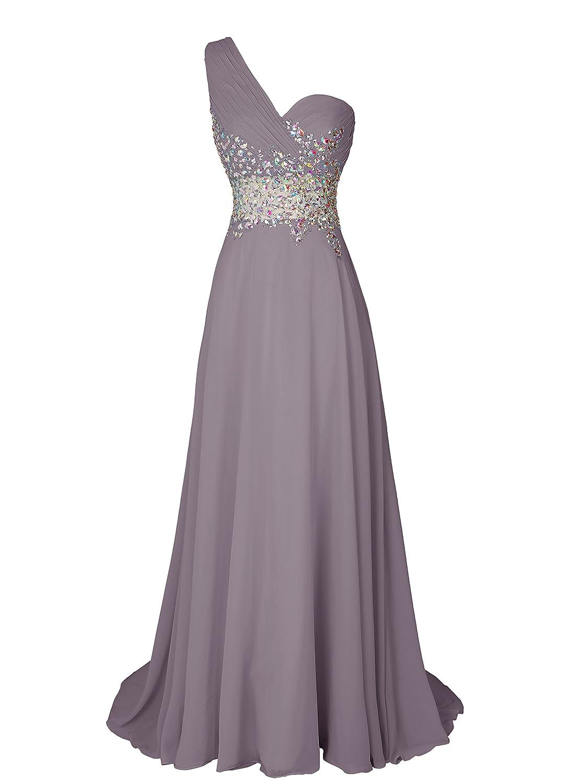 Dresstell(ドレステル) お呼ばれ 披露宴ドレス ワンショルダー キラキラビジュー付き ふんわりシフォン レディース B00SQWEDRK JP7|グレー グレー JP7