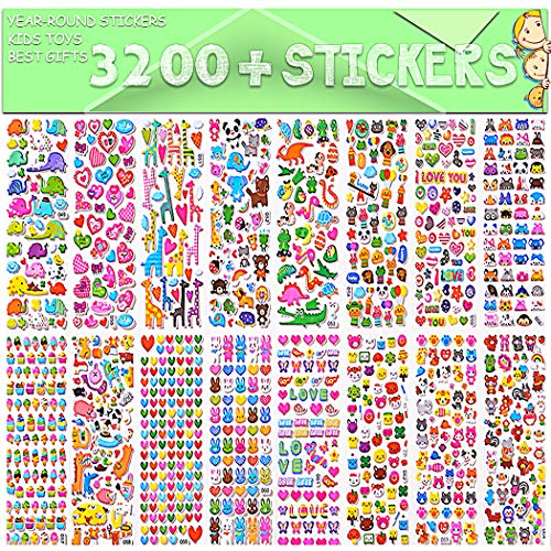 Sinceroduct Stickers for Kids, 3D Puffy Stickers, 64 Different Sheets, 3200+ Stickers, Including Animals, Cars, Trucks, Airplane, Food, Letters, Flowers, Pets and Tons More: Toys & Games