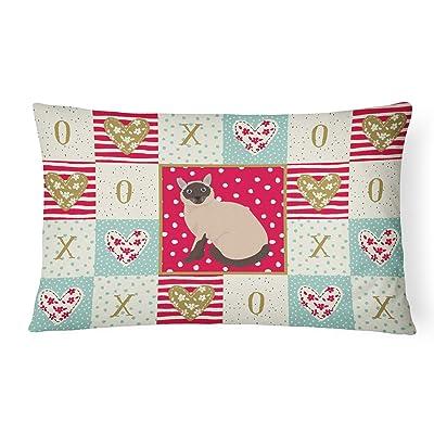 Caroline's Treasures CK5787PW1216 Siamese Traditional Cat Love Canvas Fabric Decorative Pillow, 12H x16W, Multicolor : Garden & Outdoor