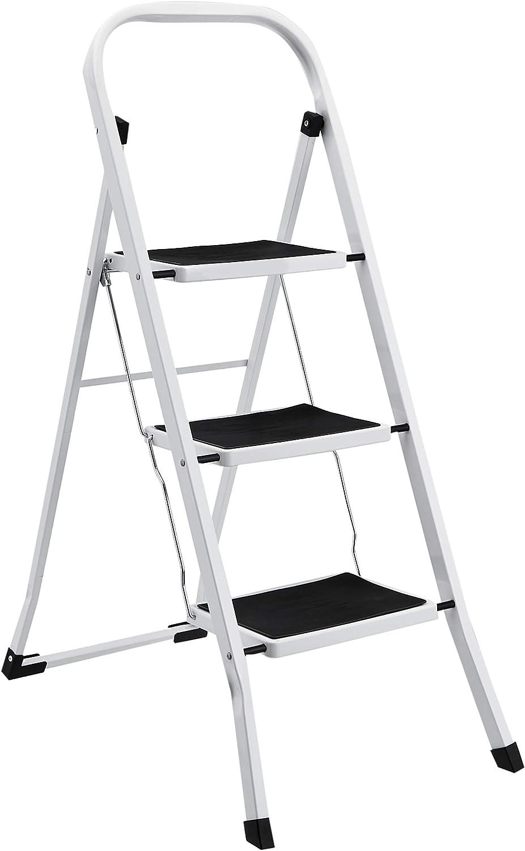 AmazonBasics Step Stool - 3-Step, Steel with Anti-slip Mat, 200-Pound Capacity, White and Black