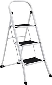 AmazonBasics Step Stool - 3-Step, Steel with Anti-slip Mat, 200-Pound Capacity, White and Black