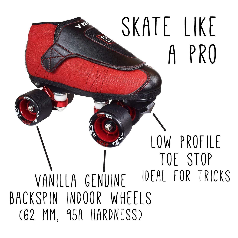 VNLA Code Red Jam Skate Mens Womens Skates – Roller Skates for Women Men – Adjustable Roller Skate Rollerskates – Outdoor Indoor Adult Skate – Kid Kids Skates Red Black