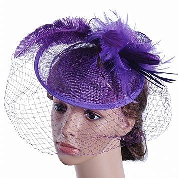 HYW Sombrero - Damas otoño e Invierno Tiara Sombrero de Lino de la Boda  británica Novia f9e0bbb6bf27